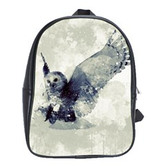Cute Owl In Watercolor School Bag (xl) by FantasyWorld7
