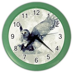 Cute Owl In Watercolor Color Wall Clocks by FantasyWorld7