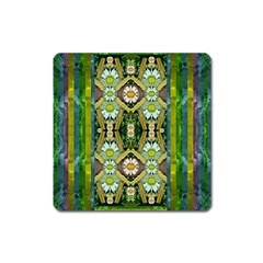 Bread Sticks And Fantasy Flowers In A Rainbow Square Magnet by pepitasart