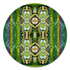 Bread Sticks And Fantasy Flowers In A Rainbow Magnet 5  (round) by pepitasart