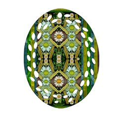 Bread Sticks And Fantasy Flowers In A Rainbow Oval Filigree Ornament (two Sides) by pepitasart