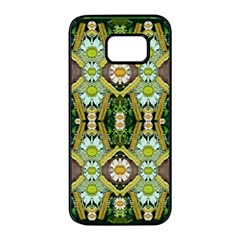 Bread Sticks And Fantasy Flowers In A Rainbow Samsung Galaxy S7 Edge Black Seamless Case by pepitasart