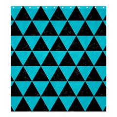 Triangle3 Black Marble & Turquoise Colored Pencil Shower Curtain 66  X 72  (large)  by trendistuff