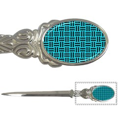 Woven1 Black Marble & Turquoise Colored Pencil Letter Openers by trendistuff