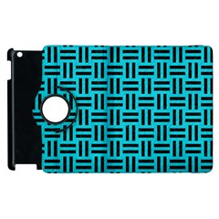 Woven1 Black Marble & Turquoise Colored Pencil Apple Ipad 3/4 Flip 360 Case by trendistuff