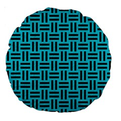 Woven1 Black Marble & Turquoise Colored Pencil Large 18  Premium Round Cushions by trendistuff