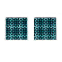Woven1 Black Marble & Turquoise Colored Pencil (r) Cufflinks (square) by trendistuff