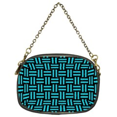 Woven1 Black Marble & Turquoise Colored Pencil (r) Chain Purses (one Side)  by trendistuff