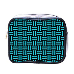 Woven1 Black Marble & Turquoise Colored Pencil (r) Mini Toiletries Bags by trendistuff