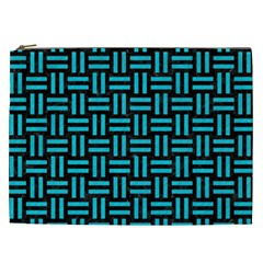 Woven1 Black Marble & Turquoise Colored Pencil (r) Cosmetic Bag (xxl)  by trendistuff