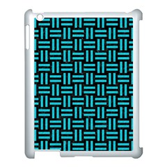 Woven1 Black Marble & Turquoise Colored Pencil (r) Apple Ipad 3/4 Case (white) by trendistuff