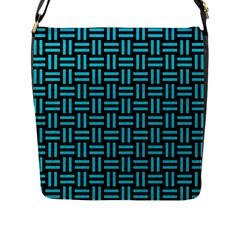 Woven1 Black Marble & Turquoise Colored Pencil (r) Flap Messenger Bag (l)  by trendistuff