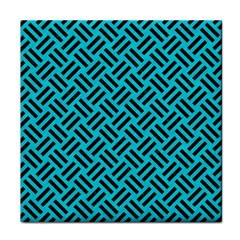 Woven2 Black Marble & Turquoise Colored Pencil Face Towel by trendistuff
