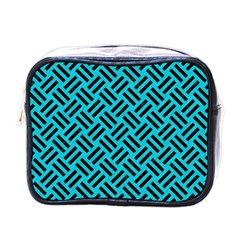 Woven2 Black Marble & Turquoise Colored Pencil Mini Toiletries Bags by trendistuff