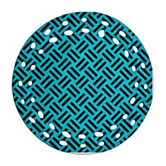 Woven2 Black Marble & Turquoise Colored Pencil Ornament (round Filigree) by trendistuff