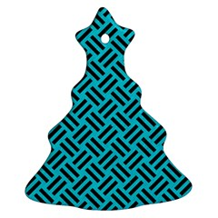 Woven2 Black Marble & Turquoise Colored Pencil Christmas Tree Ornament (two Sides) by trendistuff