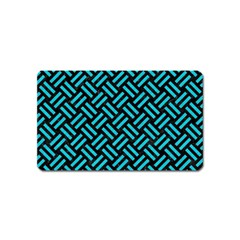 Woven2 Black Marble & Turquoise Colored Pencil (r) Magnet (name Card) by trendistuff