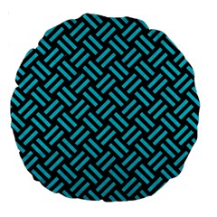 Woven2 Black Marble & Turquoise Colored Pencil (r) Large 18  Premium Round Cushions by trendistuff