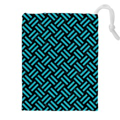 Woven2 Black Marble & Turquoise Colored Pencil (r) Drawstring Pouches (xxl) by trendistuff