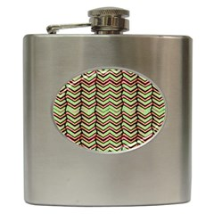 Zig Zag Multicolored Ethnic Pattern Hip Flask (6 Oz) by dflcprintsclothing