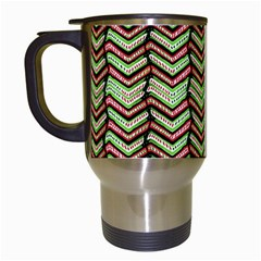 Zig Zag Multicolored Ethnic Pattern Travel Mugs (white) by dflcprintsclothing