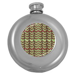 Zig Zag Multicolored Ethnic Pattern Round Hip Flask (5 Oz) by dflcprintsclothing