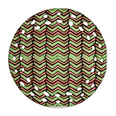 Zig Zag Multicolored Ethnic Pattern Ornament (round Filigree) by dflcprintsclothing