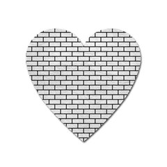 Brick1 Black Marble & White Leather Heart Magnet by trendistuff