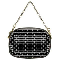 Brick1 Black Marble & White Leather (r) Chain Purses (two Sides)  by trendistuff