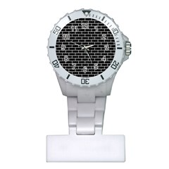 Brick1 Black Marble & White Leather (r) Plastic Nurses Watch by trendistuff