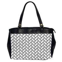 Brick2 Black Marble & White Leather Office Handbags (2 Sides)  by trendistuff