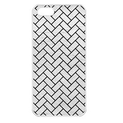 Brick2 Black Marble & White Leather Apple Iphone 5 Seamless Case (white) by trendistuff