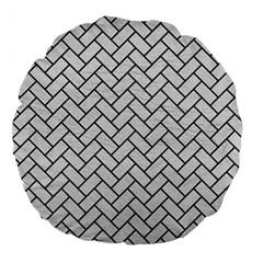 Brick2 Black Marble & White Leather Large 18  Premium Flano Round Cushions by trendistuff