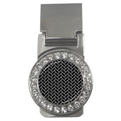 Brick2 Black Marble & White Leather (r) Money Clips (cz)  by trendistuff