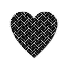Brick2 Black Marble & White Leather (r) Heart Magnet by trendistuff