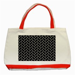 Brick2 Black Marble & White Leather (r) Classic Tote Bag (red) by trendistuff