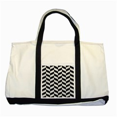 Chevron1 Black Marble & White Leather Two Tone Tote Bag by trendistuff
