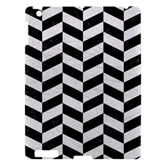 Chevron1 Black Marble & White Leather Apple Ipad 3/4 Hardshell Case by trendistuff