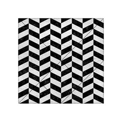 Chevron1 Black Marble & White Leather Acrylic Tangram Puzzle (4  X 4 ) by trendistuff