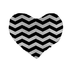 Chevron3 Black Marble & White Leather Standard 16  Premium Flano Heart Shape Cushions by trendistuff