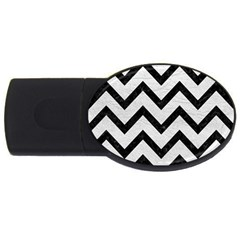 Chevron9 Black Marble & White Leather Usb Flash Drive Oval (4 Gb) by trendistuff