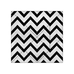 Chevron9 Black Marble & White Leather Acrylic Tangram Puzzle (4  X 4 ) by trendistuff