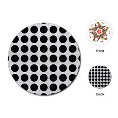 Circles1 Black Marble & White Leather Playing Cards (round)  by trendistuff
