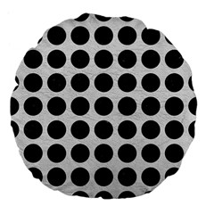 Circles1 Black Marble & White Leather Large 18  Premium Flano Round Cushions by trendistuff