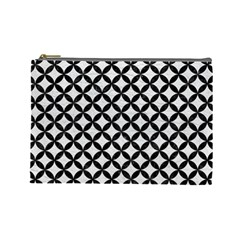 Circles3 Black Marble & White Leather Cosmetic Bag (large)  by trendistuff