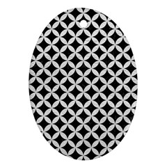 Circles3 Black Marble & White Leather (r) Ornament (oval)