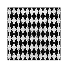 Diamond1 Black Marble & White Leather Acrylic Tangram Puzzle (6  X 6 ) by trendistuff