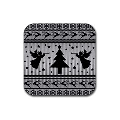 Ugly Christmas Sweater Rubber Square Coaster (4 Pack)  by Valentinaart
