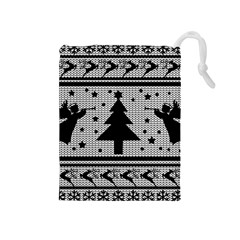 Ugly Christmas Sweater Drawstring Pouches (medium)  by Valentinaart