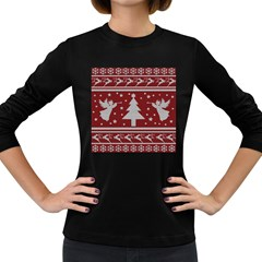 Ugly Christmas Sweater Women s Long Sleeve Dark T Shirts by Valentinaart